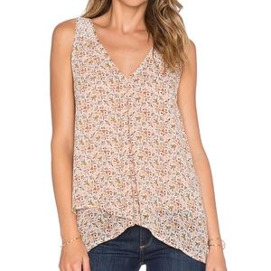 JOIE Anselm Printed Silk Sleeveless Blouse Top